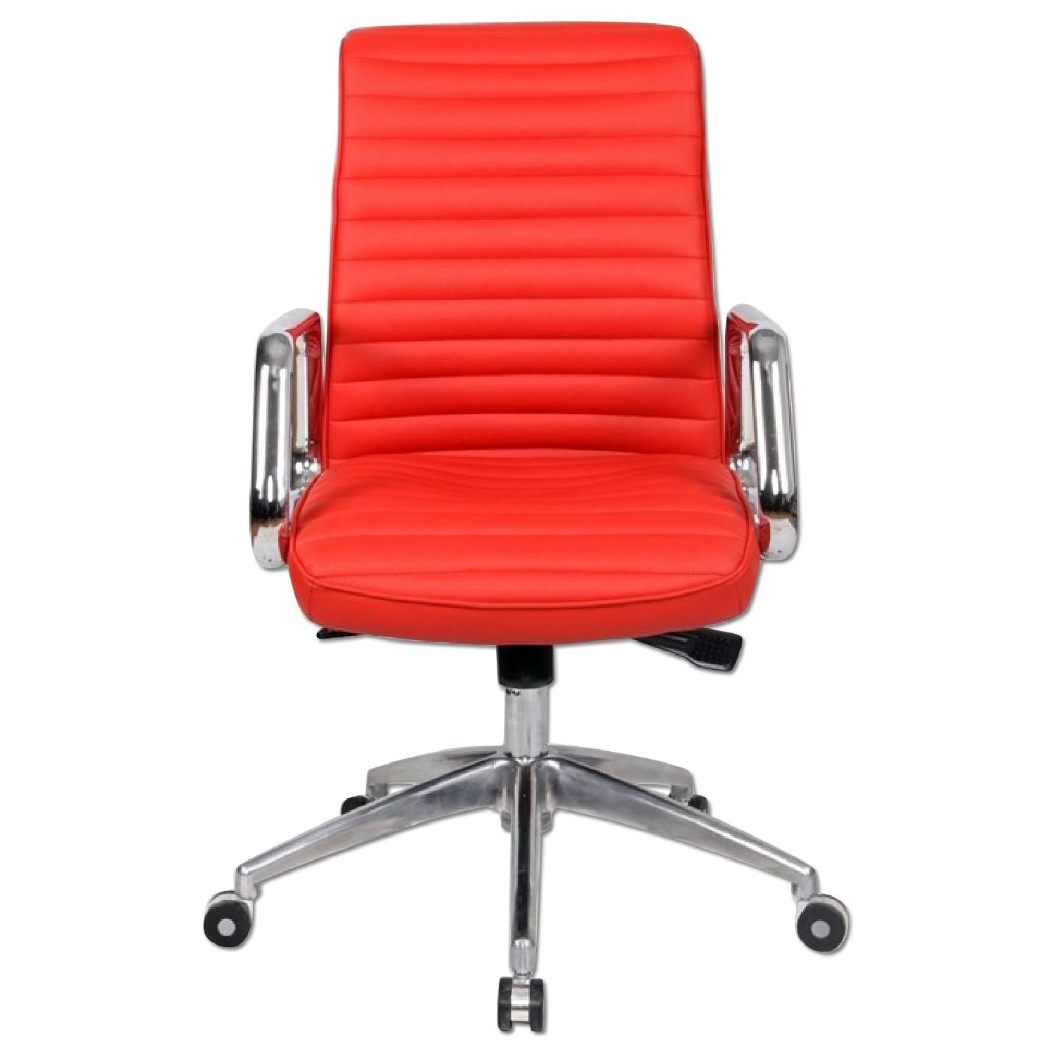 Red Desk Chair Modern Steel Frame Office Chair W Padded Seat Back Uphols