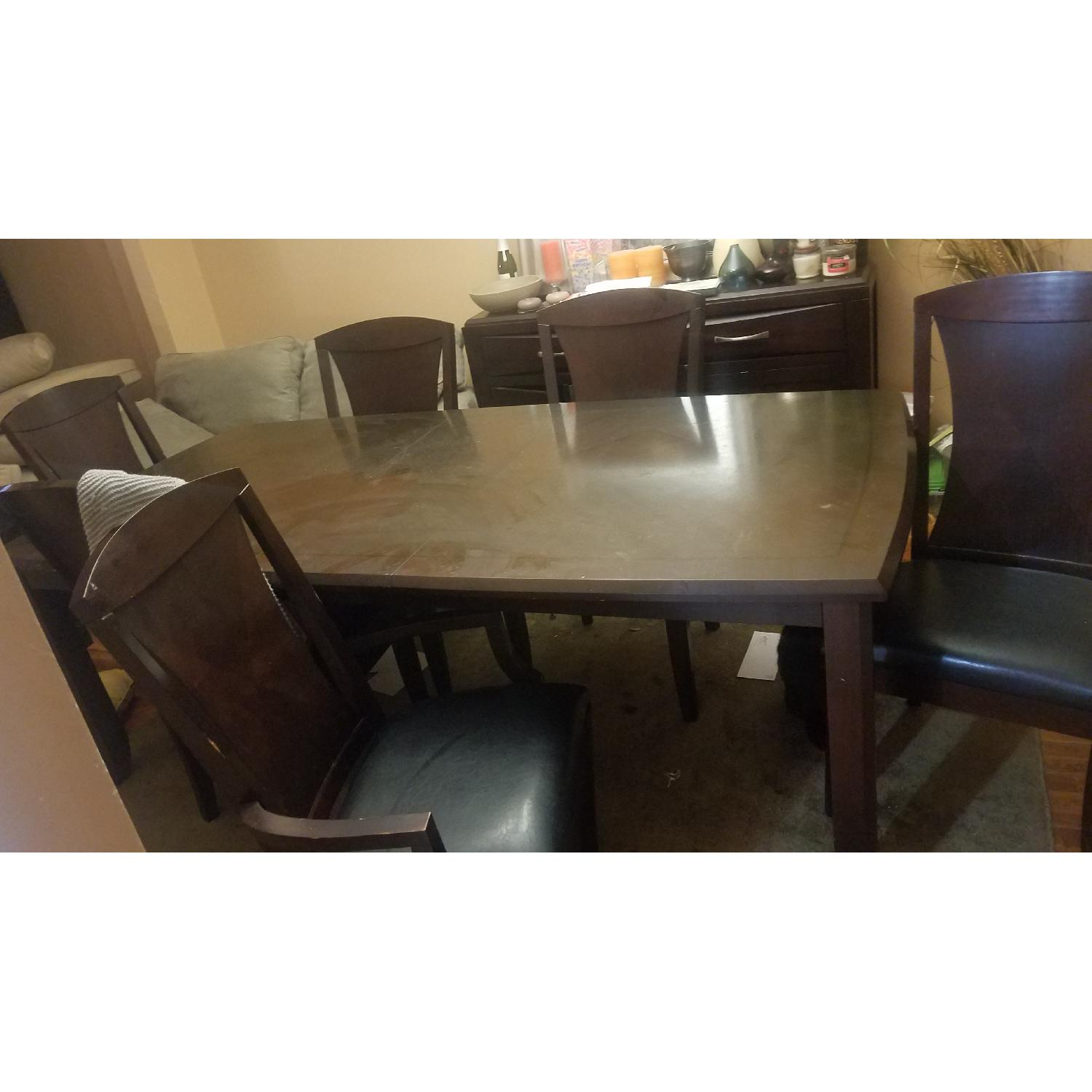 Leather And Wood Chair Raymour Flanigan Wood Dining Table W 6 Leather Chairs