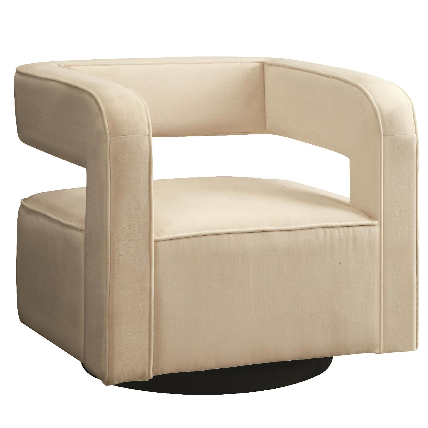 Off White Accent Chair Contemporary Swivel Accent Chair In Off White Velvet Aptdeco
