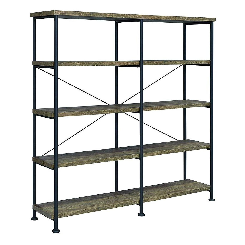 Rustic Oak Black Bookcase W 4 Shelves Aptdeco