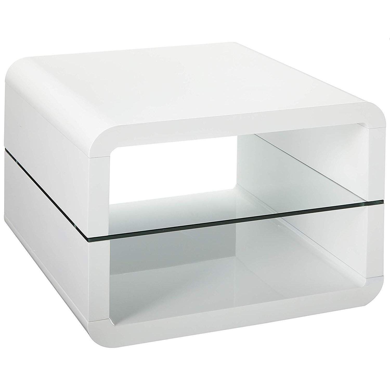 modern white gloss side table w tempered glass shelf