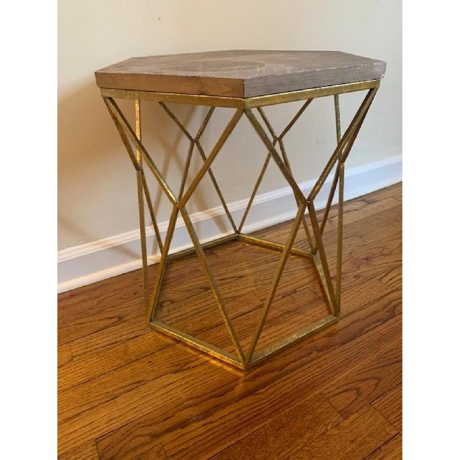 target threshold chester end tables in gold metal hexagon