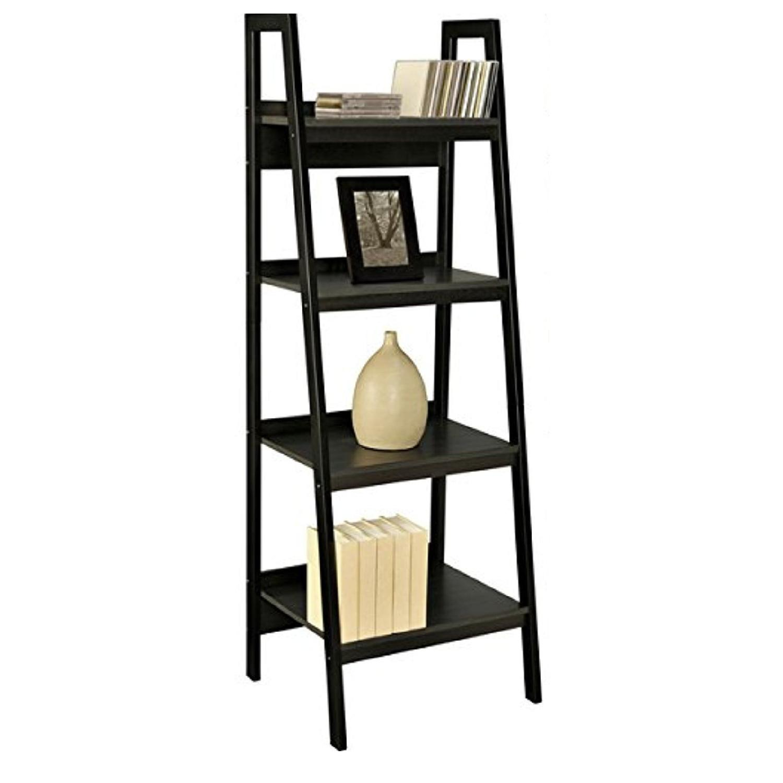 Dorel Home Products Black Ladder Bookshelf Aptdeco