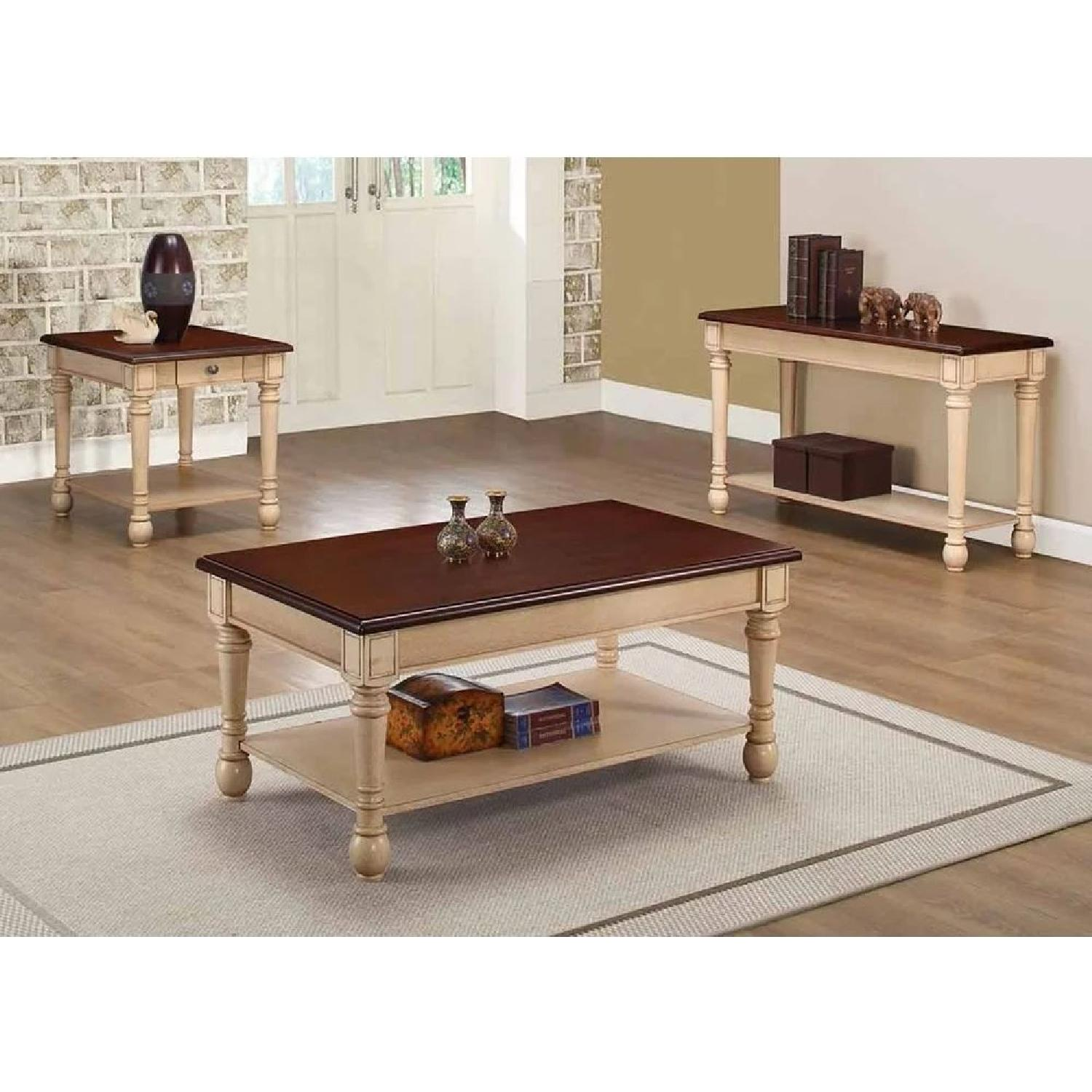 coffee table in 2 tone walnut top antique white base