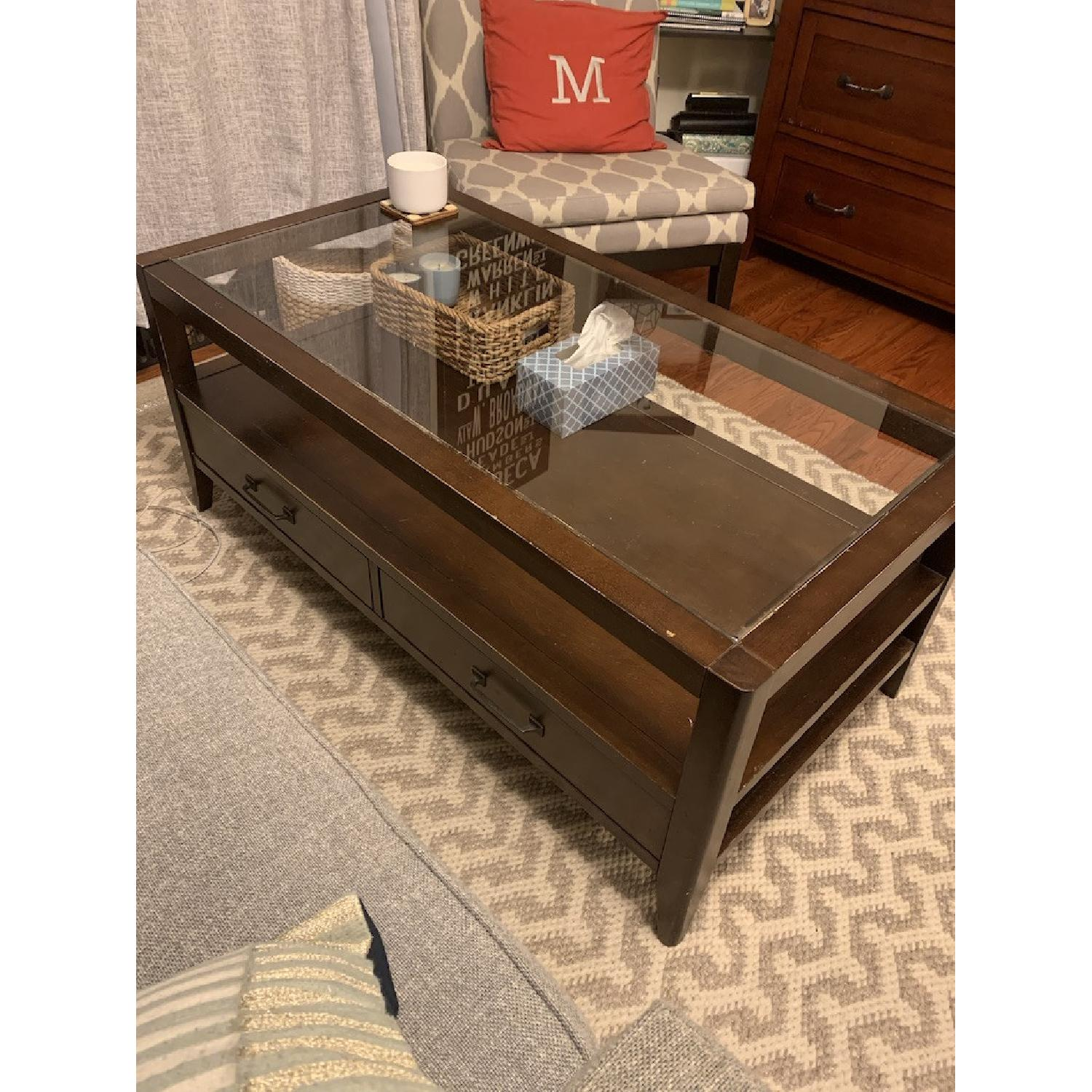 crate barrel glass top coffee table