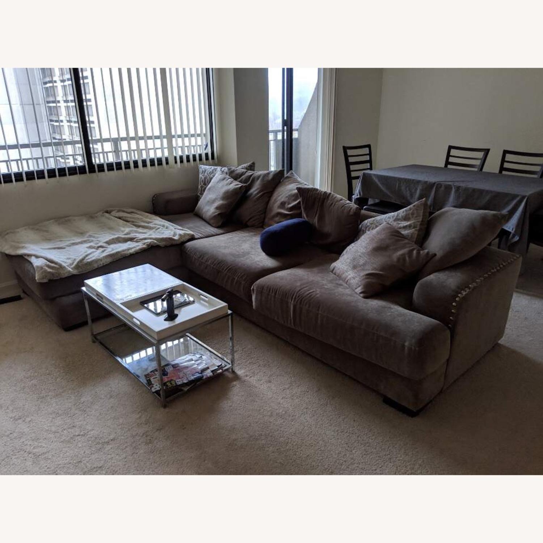 value city casual sectional sofa w chaise nailhead trim
