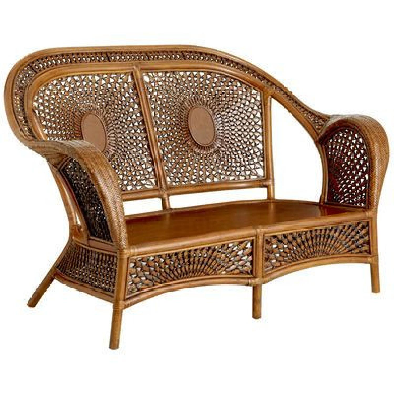 pier 1 azteca patio settee w tufted cushion