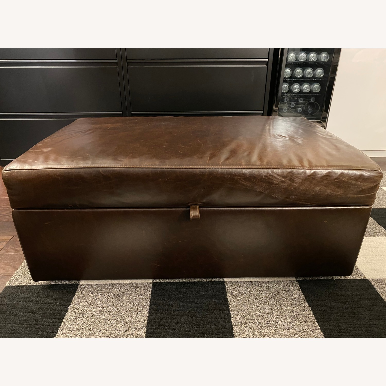 crate barrel barrett leather storage ottoman wtray