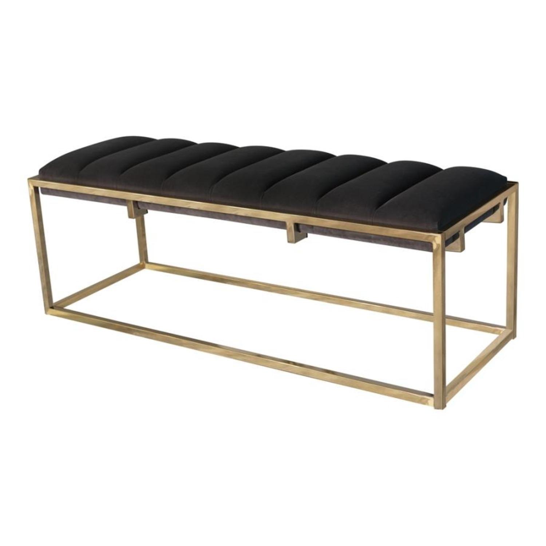 Modern Bench In Dark Grey Velvet W Gold Base Aptdeco