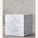 Restoration Hardware Marble Plinth Side Table Aptdeco