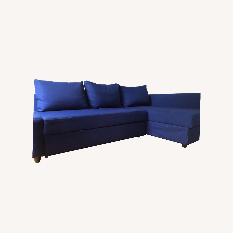 ikea l shaped sofa in blue