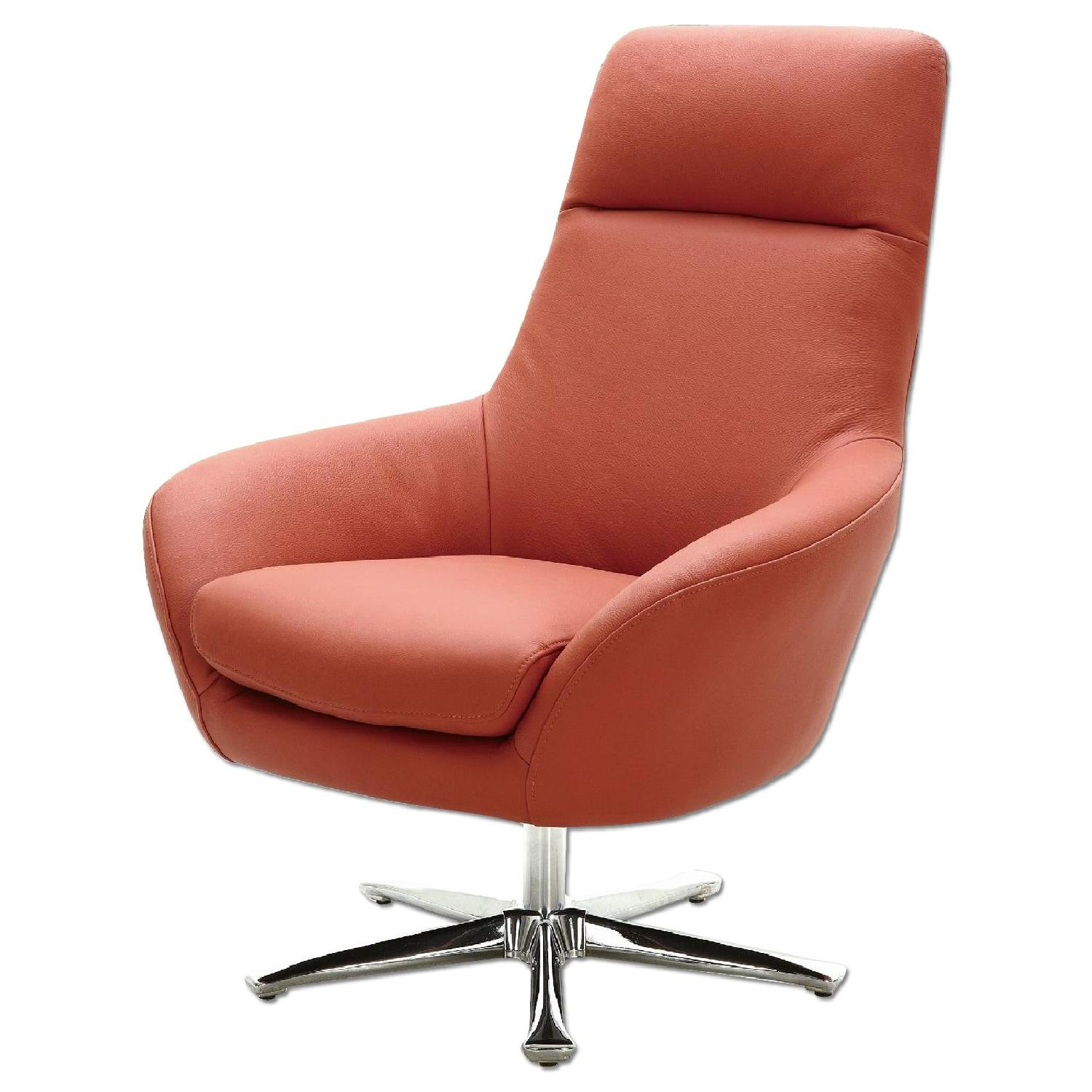 Orange Leather Chair Modern Style Swivel Accent Chair In Orange Premium Full