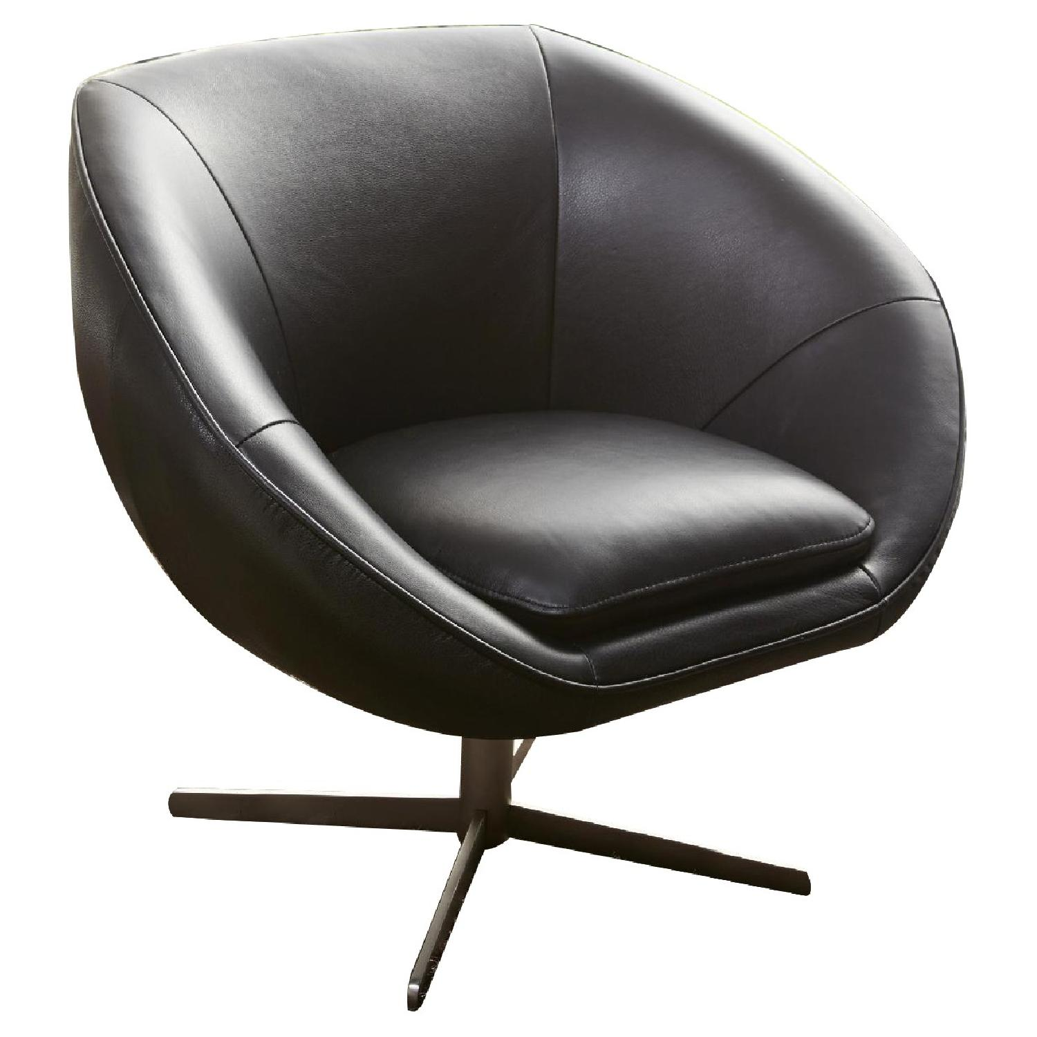 Modern Swivel Accent Chair in Black Premium Leather w