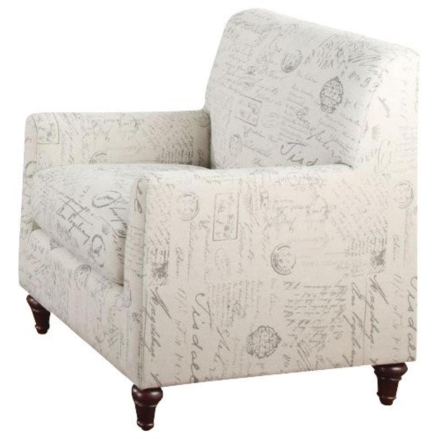 Script Chair Accent Arm Chair With French Script Pattern