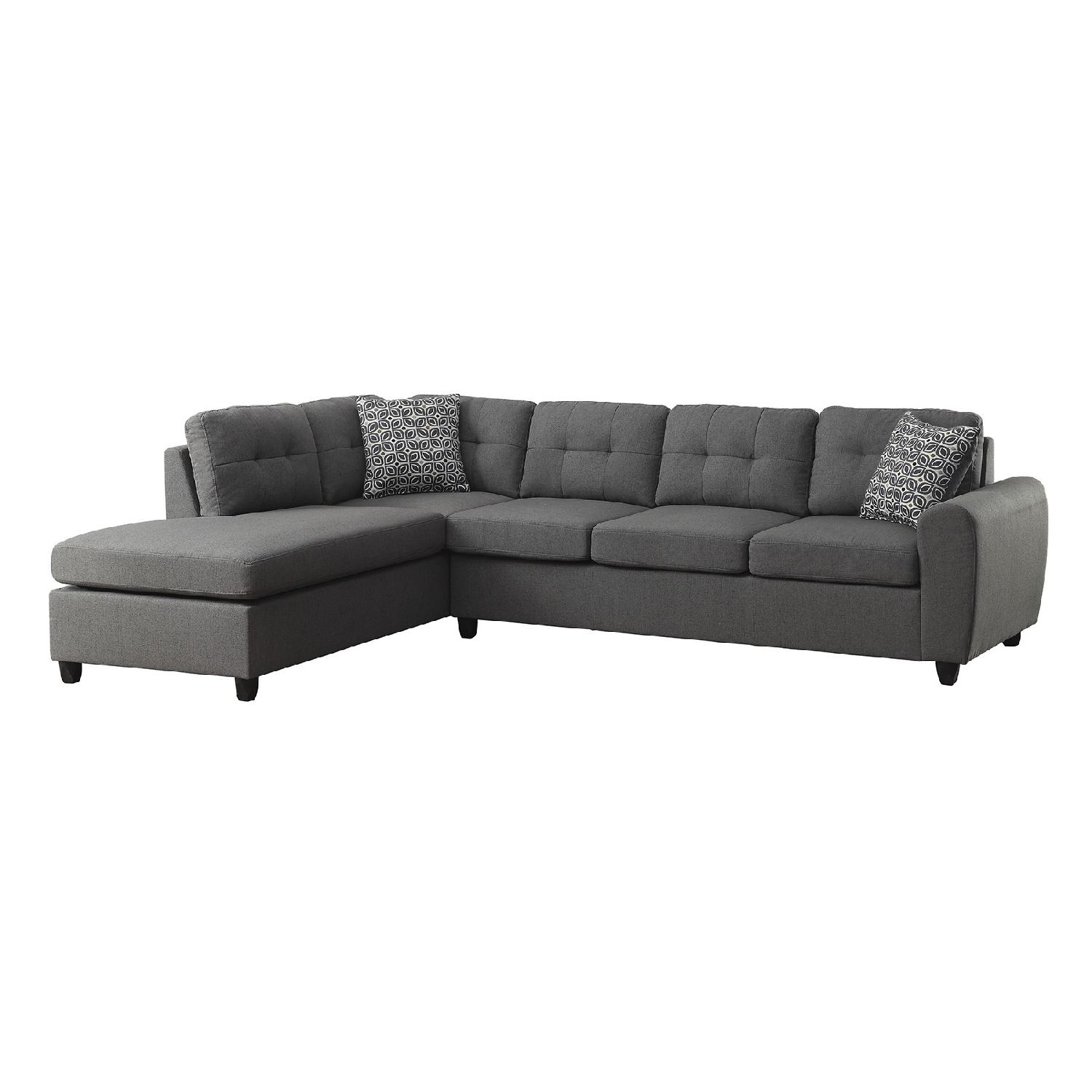 hayden sectional sofa with reversible chaise small sofas rooms to go contemporary in grey fabric w button tufted