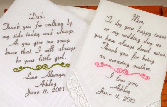 Mom Dad Embroidered Wedding Hankerchiefs Handkerchiefs