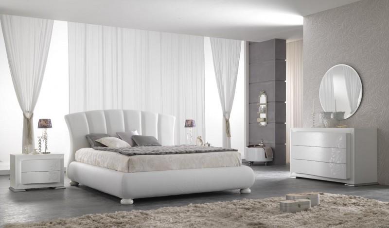 Gruppo edge frassino bianco, letto edge ecopelle bianca, armadio scorrevole cut vetro bianco / bianco satinato l. Spar