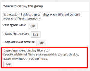 Custom Fields Group Conditional Display section