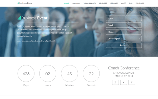 Business Event Responsive Landing Page Landing Pages WrapBootstrap