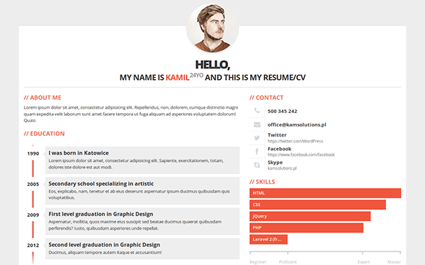 3ColorResume Personal Resume CV Bootstrap Portfolio And Resume