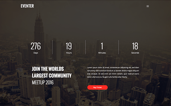 Eventer Event Landing Page WrapBootstrap