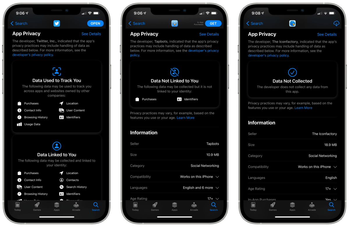Apple's App Store privacy labels make it clear to users that third-party Twitter clients collect far less data than the official app, for example.