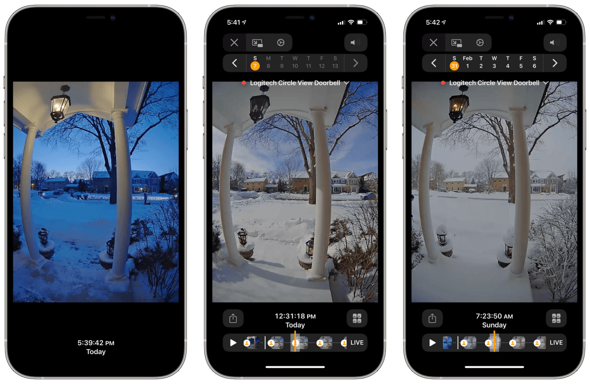 The Circle View Doorbell's excellent camera allows me to look out upon the frozen suburban tundra at any time of day.