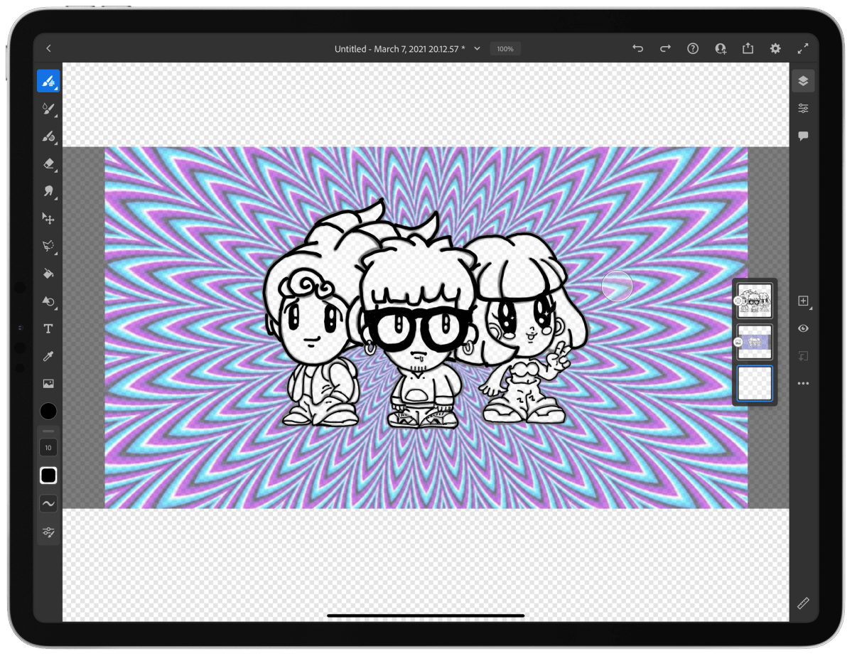 Using an image layer with the opacity turned down to trace artwork.