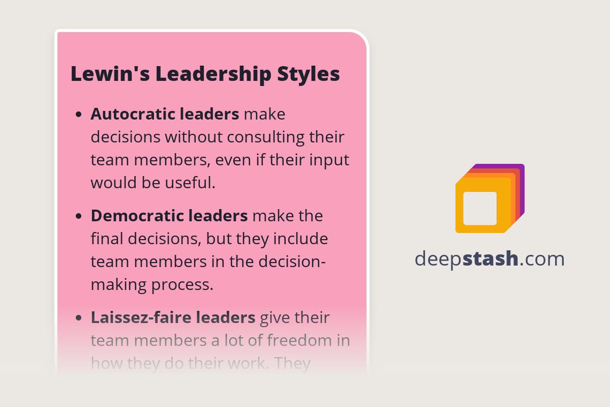 Lewin S Leadership Styles