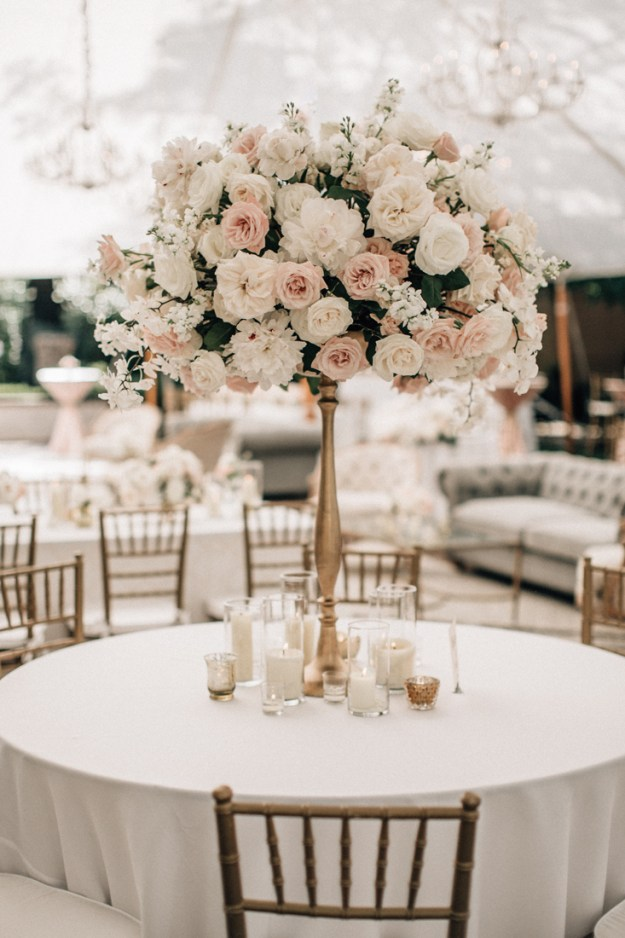 Tall wedding centerpieces with pink flowers