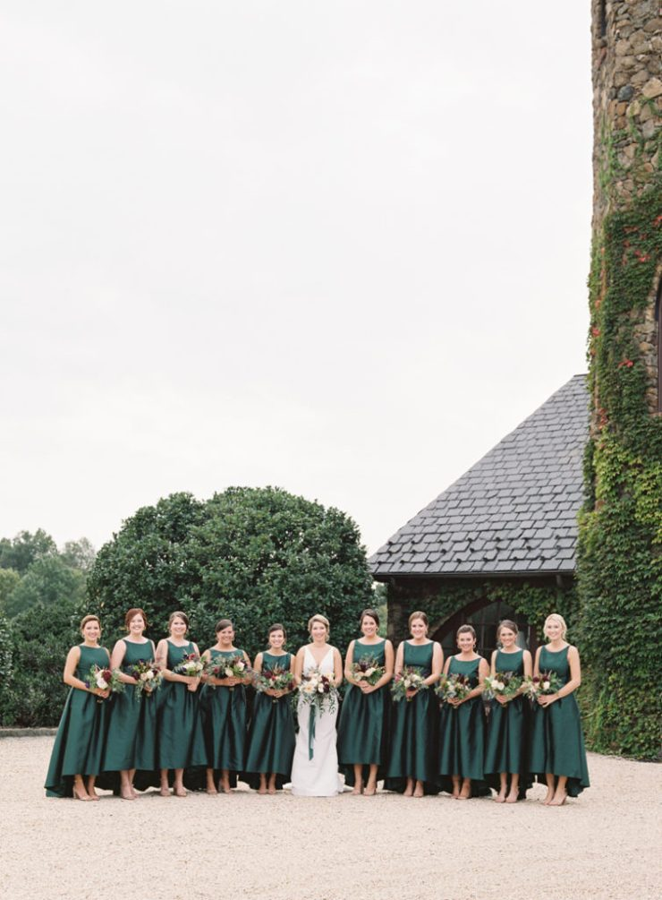 Bride and bridesmaids at Dover Hall wedding