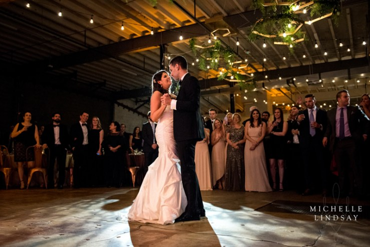 First dance for bride and groom at Dock 5 wedding.