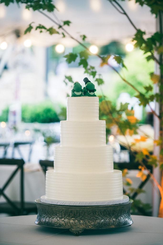 Rustic wedding cake displayed at Summerfield Farms wedd