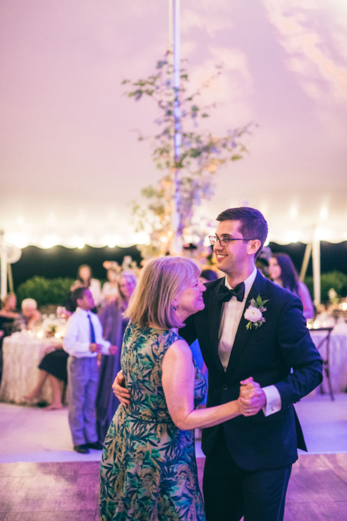 Mother and son dancing at Summerfield Farms wedding reception.
