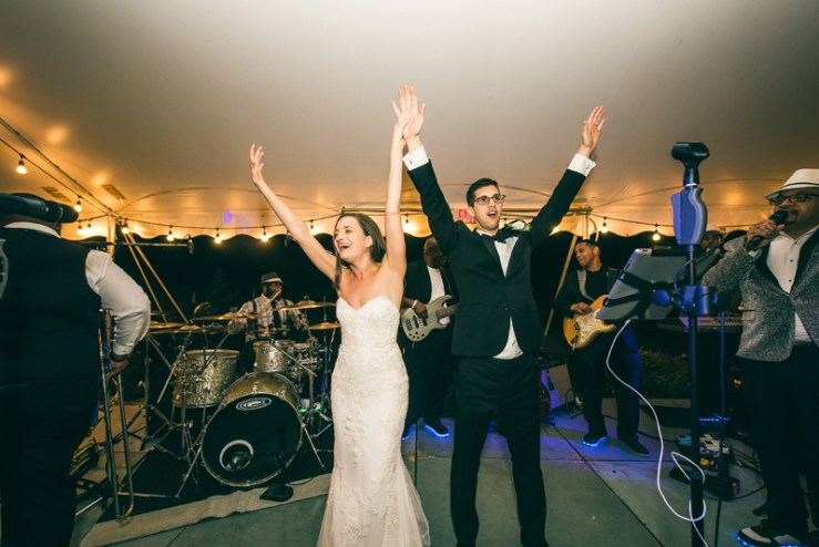 Bride and groom dancing at wedding reception to Right To Party Band