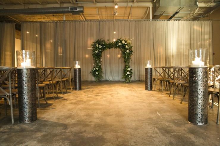 Wedding ceremony setup at Atlanta distillery wedding.