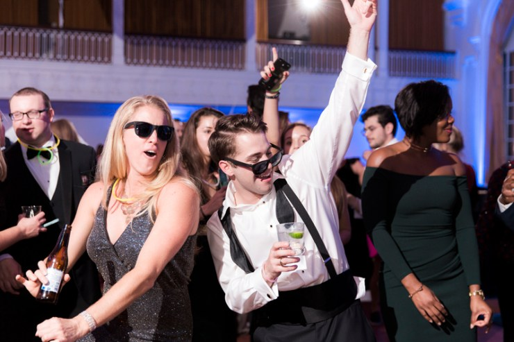 Guests on dance floor during a wedding at The Jefferson Hotel