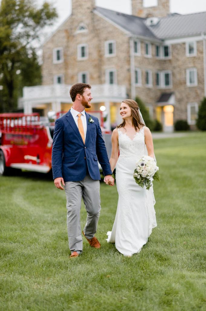 Bride and Groom outside at Roaring Gap Club wedding.