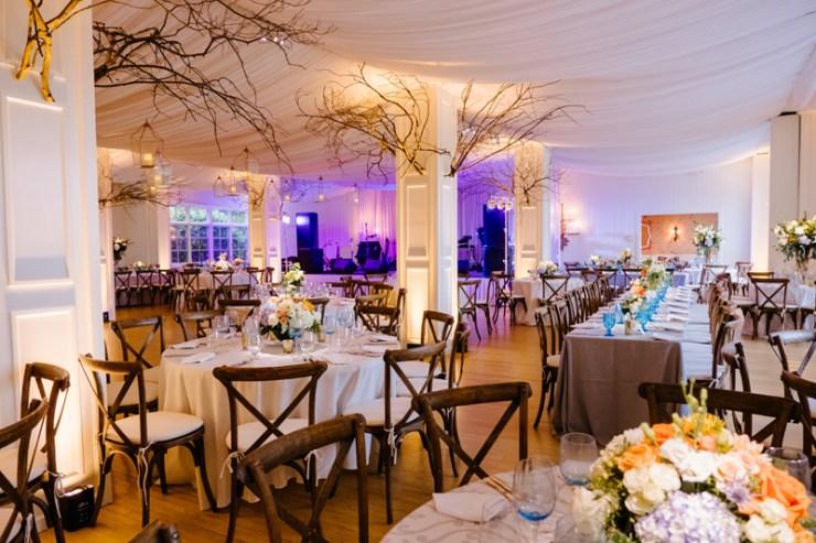 Reception space during Roaring Gap Club wedding.