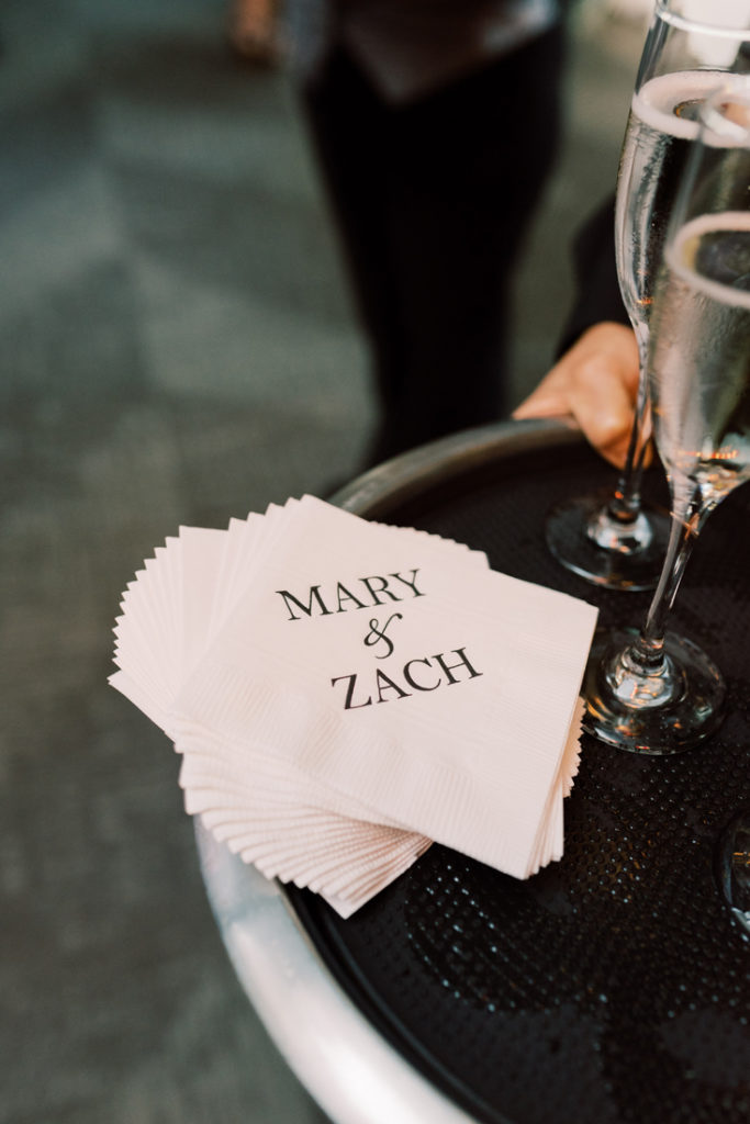 Custom napkins printed with Mary and Zach's names.