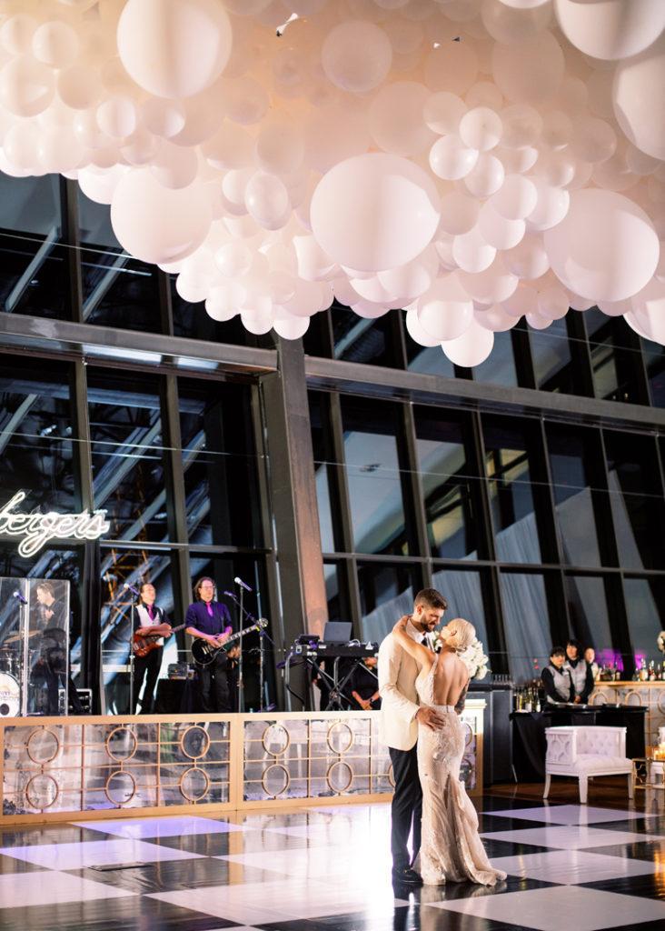 First dance between bride and groom at Nashville wedding.