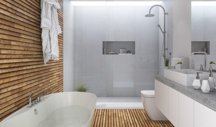 8 x hout in de badkamer