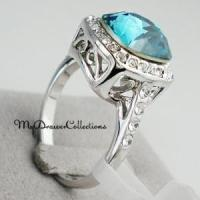 WGP Turquoise Blue Sapphire Crystal Promise Ring - Halo ...