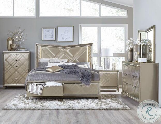 bijou champagne metallic platform storage bedroom set with led lighting