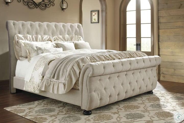 willenburg linen cal king upholstered sleigh bed