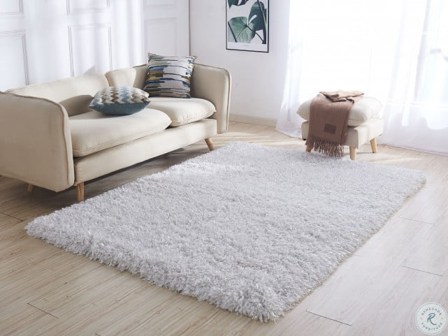 coral white hand tufted shag small area rug