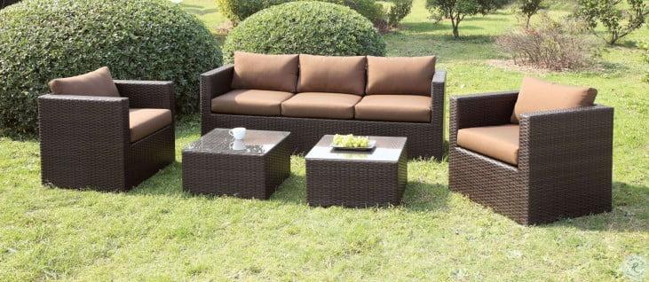 olina brown 5 piece outdoor patio set