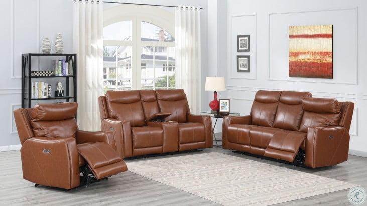 natalia caramel leather power reclining sofa