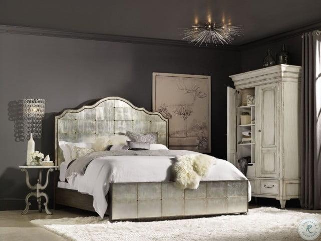 arabella painted charcoal mirrored panel bedroom set