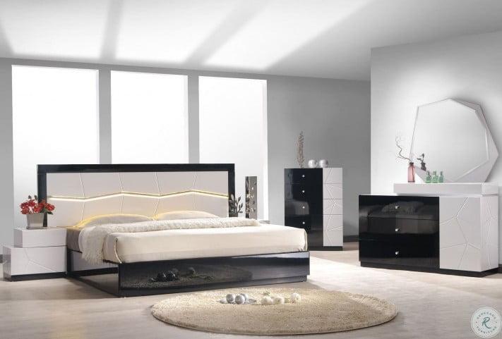 turin light grey and black lacquer platform bedroom set